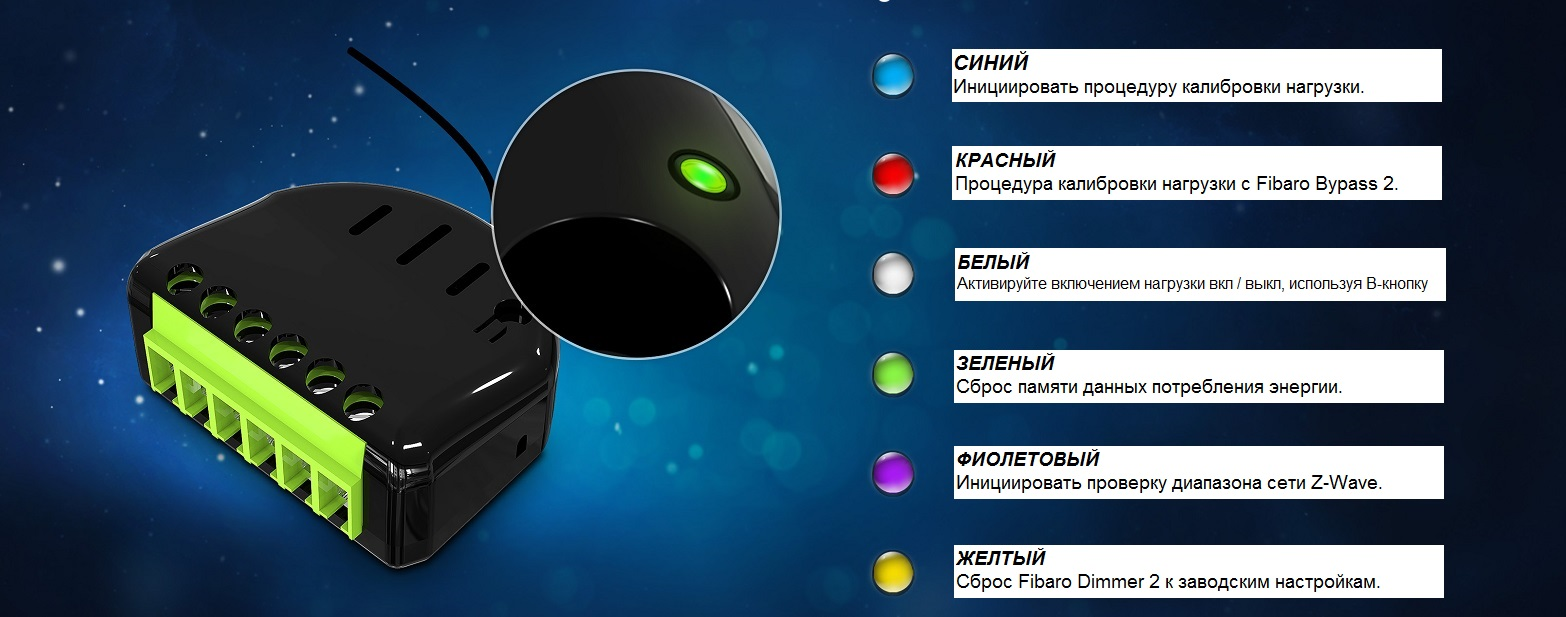 Fibaro Dimmer2 Configuration menu with LED